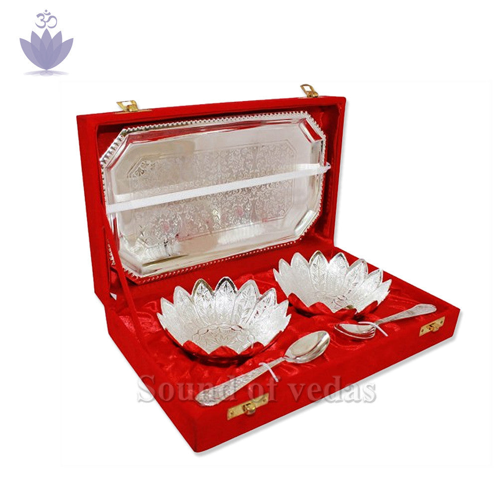 Puja Tray With Bowls & Spoons Set - SoundofVedas - 1