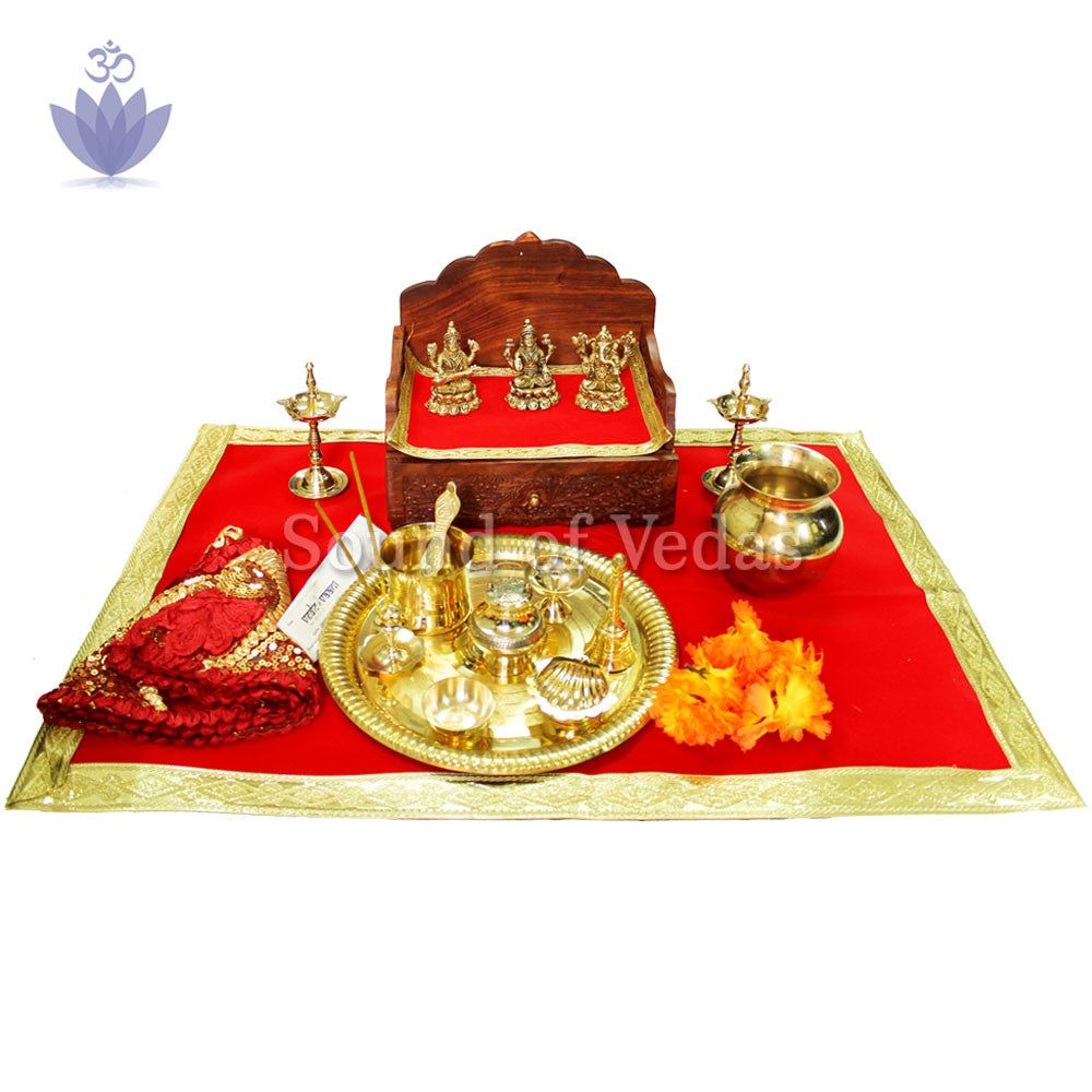 Ganesh Lakshmi Saraswati Idol with Puja Thali Set