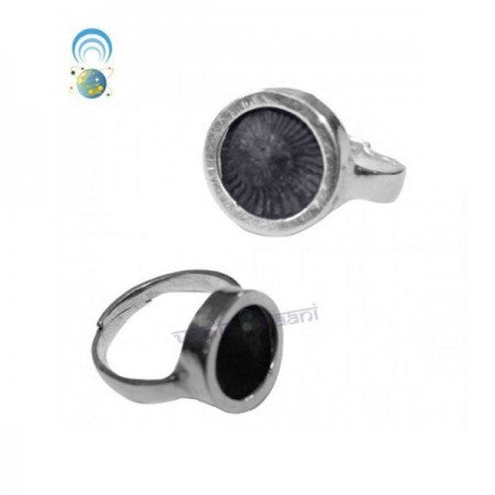 Shaligram Ring In Silver with Gold Plating - SoundofVedas
