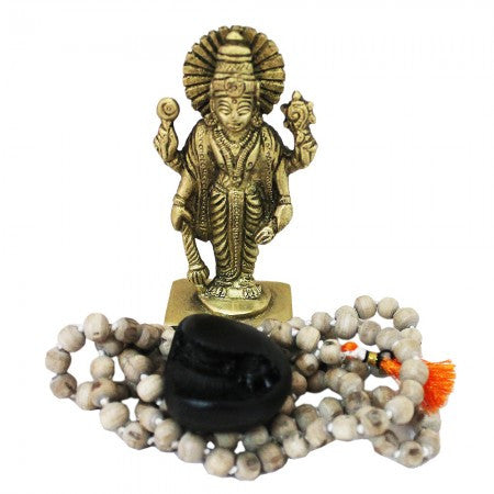 Sudarshan Chakra Shaligram Vishnu Pujan Set with Tulsi Mala - SoundofVedas