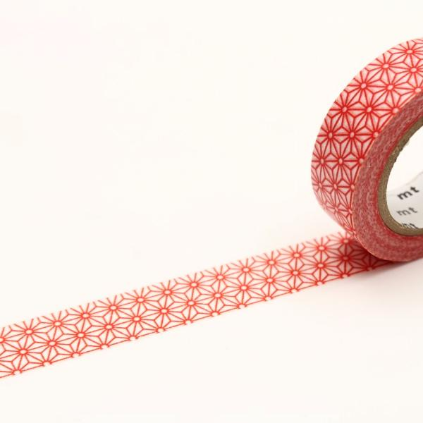 Washi Tape - Asanoha Vermilion Red