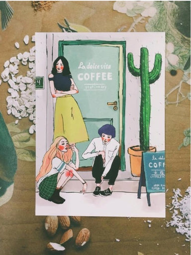Postcard - Cafe Girl