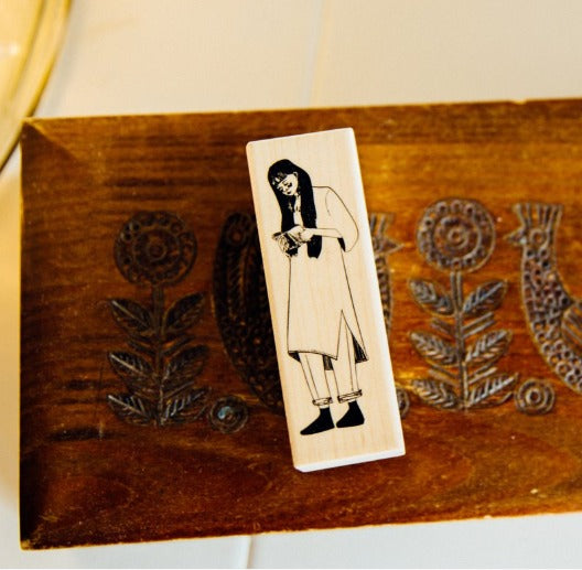 Rubber Stamp - Reading Girl
