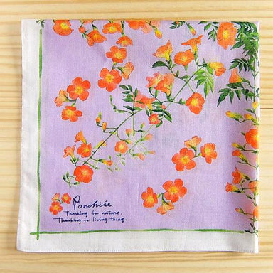 Cotton Handkerchief - Chinese Trumpet Vine