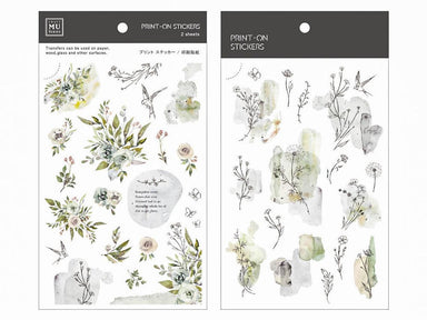 MU Print-on Stickers - Gray Green Florals