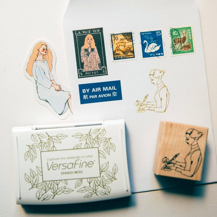 Rubber Stamp - Writing Girl