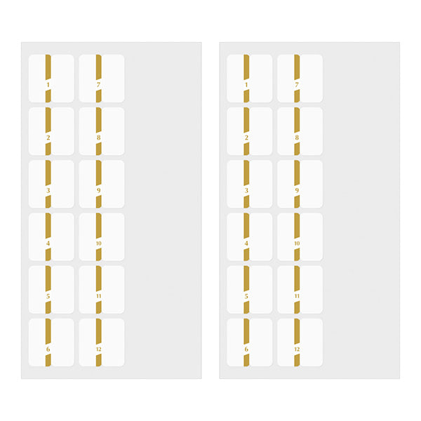 Slim Index Stickers - Gold Numbers