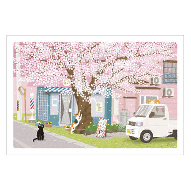Traveling Cat Postcard - Spring