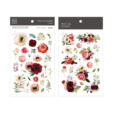 MU Print-on Stickers - Red Flowers