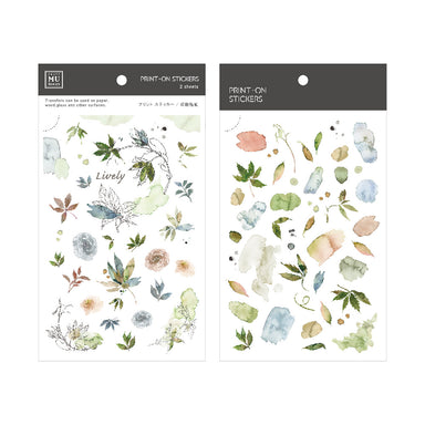 MU Print-on Stickers - Green-blue Ink Leaves