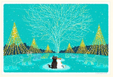 Traveling Cat Postcard - Winter
