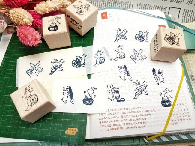 Rubber Stamp - Stationery Rabbit Stamps