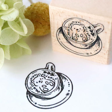 Rubber Stamp - Hedgehog Latte Art
