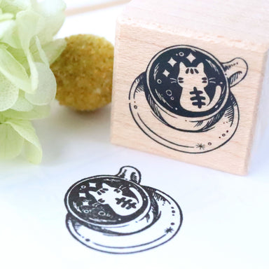 Rubber Stamp - Cat Latte Art