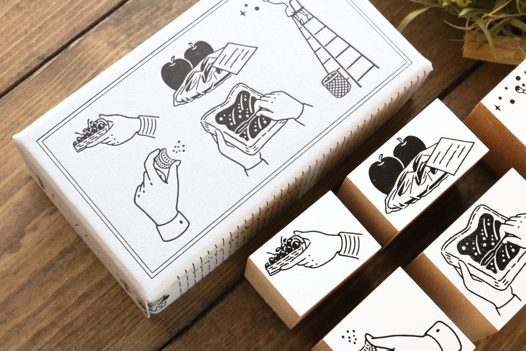 Rakui Hana Rubber Stamps Set - Fruit Basket