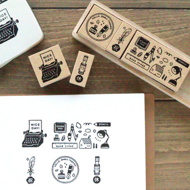Rubber Stamp Set - Happy Stationery Day