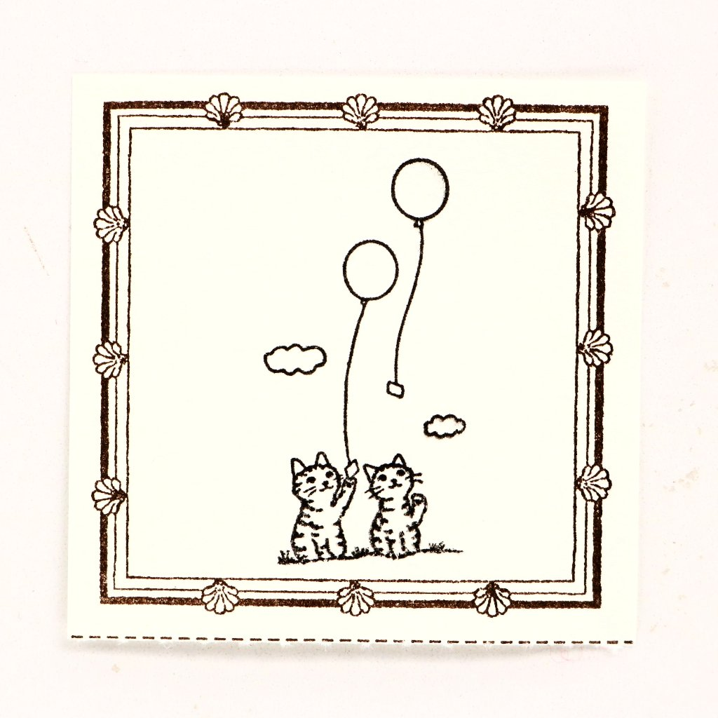 Cute cats with balloons rubber stamp great for your letters, traveler's notebook, planner, journal and lots more.  Available at Cute Things from Japan.