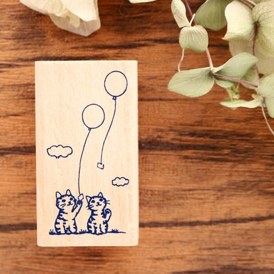 Pottering Cat Rubber Stamp - Balloons