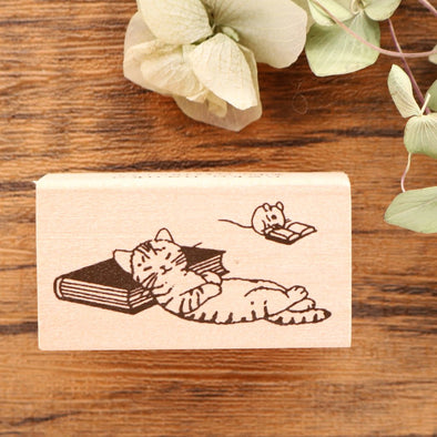 Pottering Cat Rubber Stamp - Napping