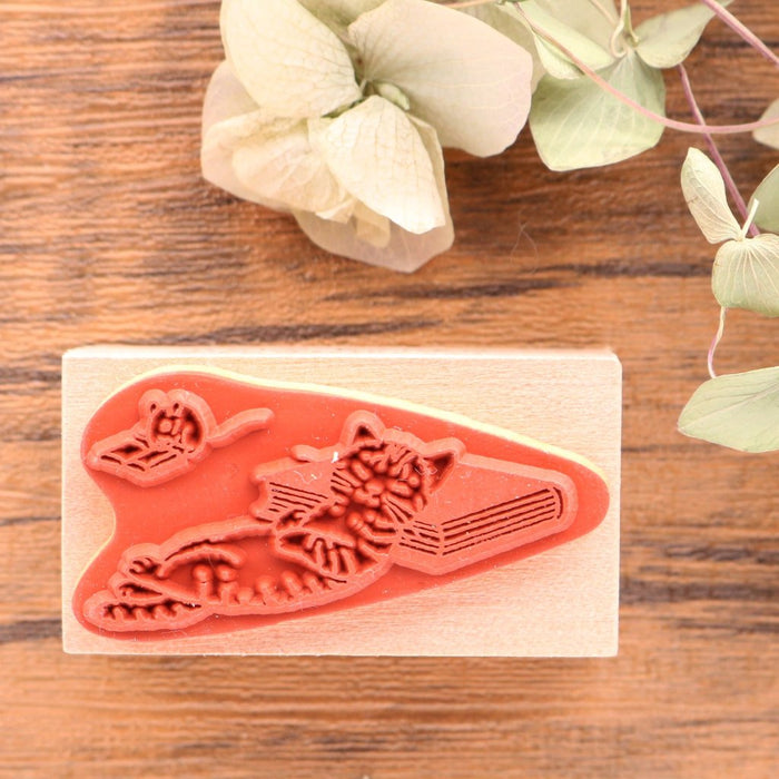 Cute Pottering Cat napping cat rubber stamp great for your letters and craft project.  Available at Cute Things from Japan.
