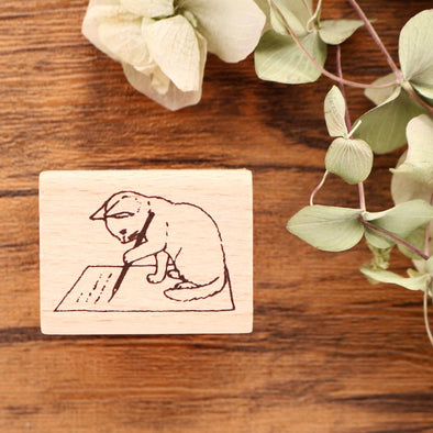 Pottering Cat Rubber Stamp - Writing Letter