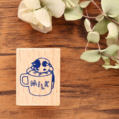 Pottering Cat Rubber Stamp - Driking Milk