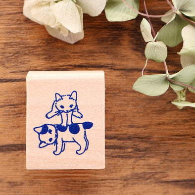 Pottering Cat Rubber Stamp - Jumping