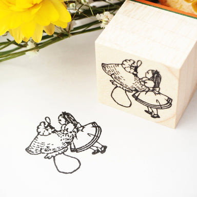 Rubber Stamp - Alice and Caterpillar