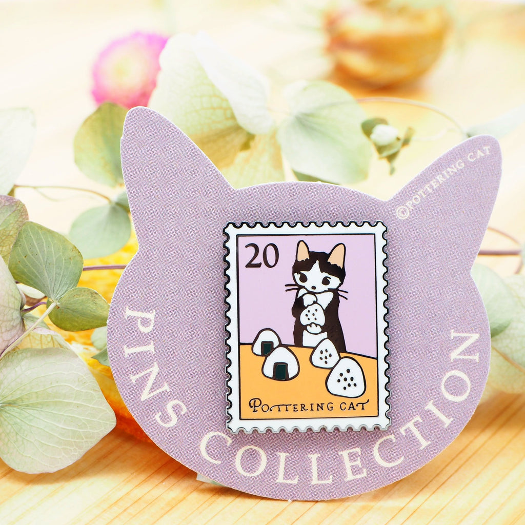 Pottering Cat Pin - Eating Rice Ball