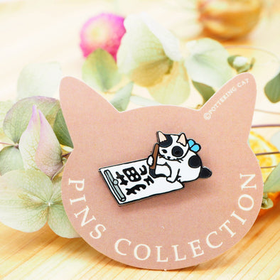 Pottering Cat Pin - Calligraphy
