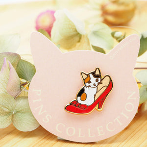 Pottering Cat Pin - In a Shoe