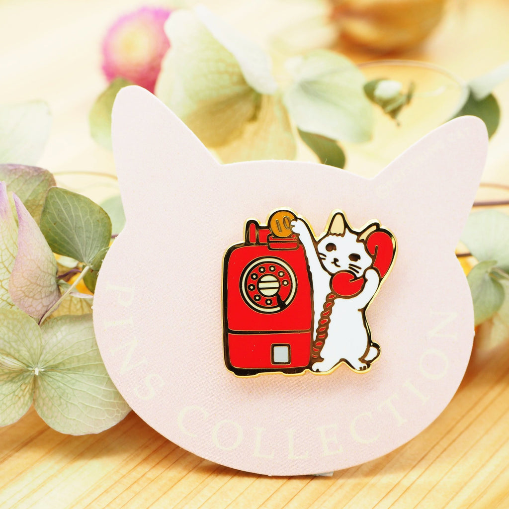 Pottering Cat Pin - Telephone