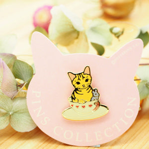 Pottering Cat Pin - in a Tea Cup