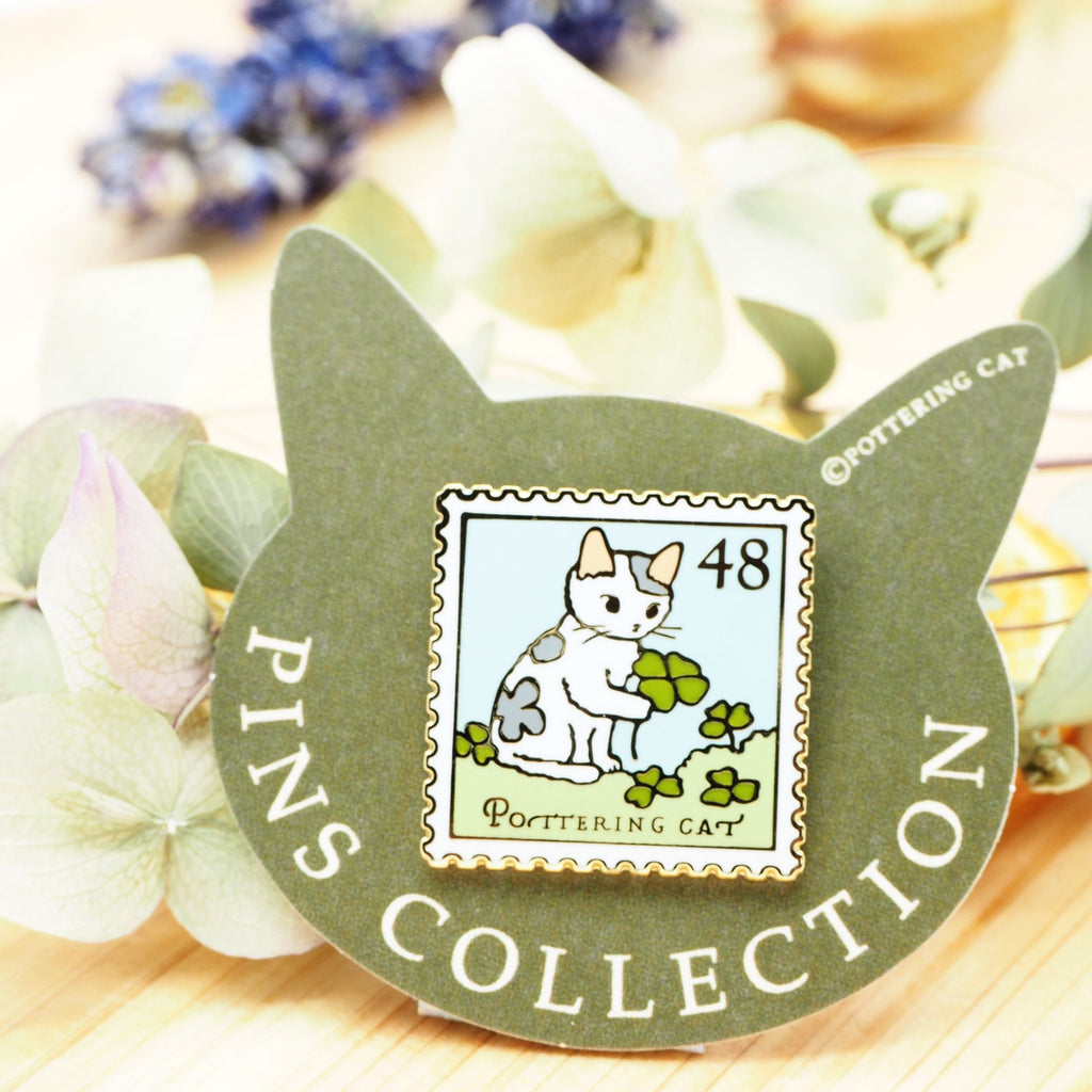 Pottering Cat Pin - Clover
