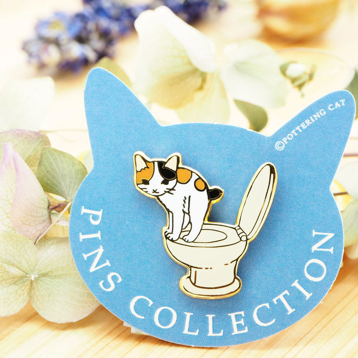 Pottering Cat Pin - in the Washroom