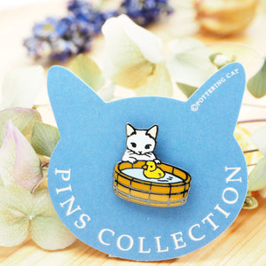 Pottering Cat Pin - With Duck