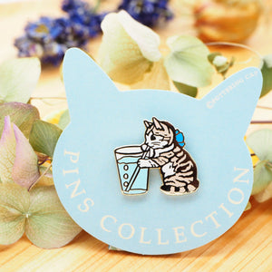 Pottering Cat Pin - Drinking