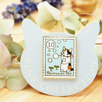 Pottering Cat Pin - Making Soap Bubbles