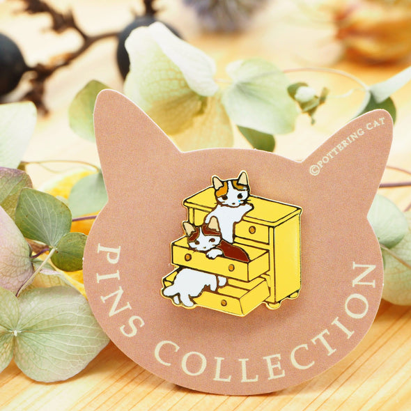 Pottering Cat Pin - in a Shelf
