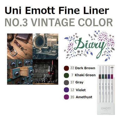 Uni Emott Fine Liner Set - Vintage No.3