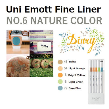 Uni Emott Fine Liner Set - Nature No.6
