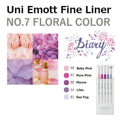 Uni Emott Fine Liner Set - Floral No.7