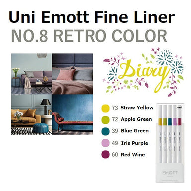 Uni Emott Fine Liner Set - Retro No.8