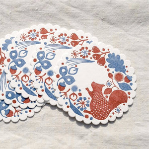 Classiky Letterpress Coaster - Forest of Squirrel