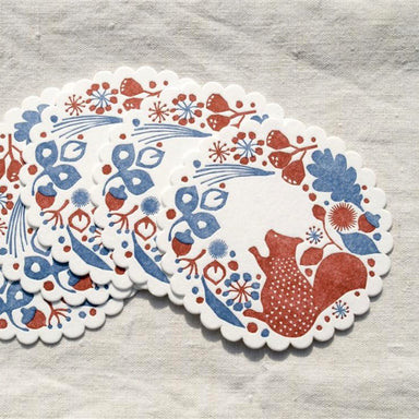 Letterpress Coaster - Forest of Squirrel