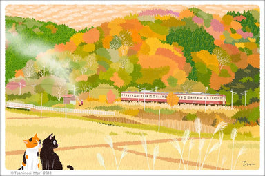 Traveling Cat Postcard - Autumn