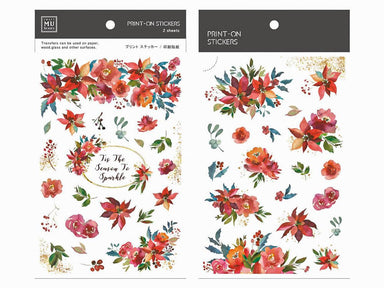 MU Print-on Stickers - Red Christmas Flower