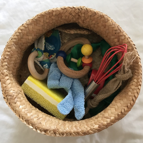 Basket of sensory toys
