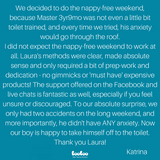Parent review of no nappy weekend