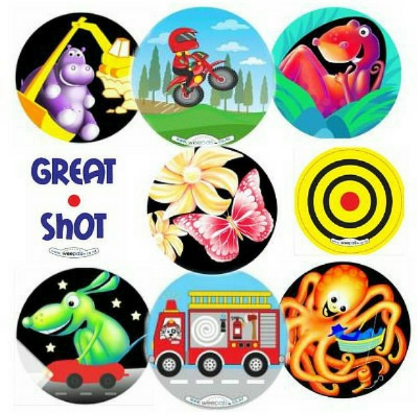 Designs of toilet training stickers